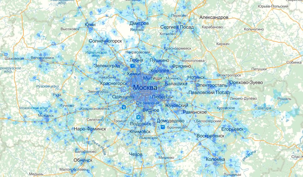 Зона покрытия Yota интернет 3G 4G LTE